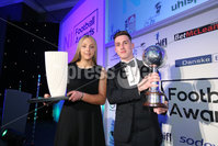 Press Eye - Belfast - Northern Ireland - 7th May 2018  - . NI Football Awards at the Crowne Plaza Hotel.. Gavin Whyte with Lauren Perry, Women\'s Football Personality of the Year.. Photo by Kelvin Boyes / Press Eye .