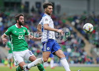 Press Eye Belfast - Northern Ireland 8th September 2018. UEFA Nations League 2019 Final Tournament at the National Stadium at Windsor Park.  Northern Ireland Vs Bosnia and Herzegovina. . Northern Ireland\'s Will Grigg with Bosnia and Herzegovina\'s Ervin Zukanovic  . Picture by Jonathan Porter/PressEye.com