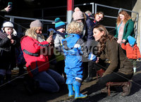 Press Eye - Belfast - Northern Ireland - 12th February 2020 - . HRH The Duchess of Cambridge pictured at The Ark Open Farm in Newtownards.. During her visit to the farm, HRH will met with local representatives of Early Years and families who have benefitted from the work of the charity. Young children from two local nurseries were also present.  The Duchess received a guided tour of the facility, meeting with the owners and staff of the family-run farm and viewed various animals during her walkabout.. Photo by Kelvin Boyes / Press Eye.
