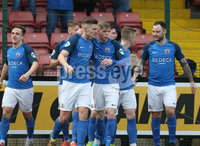 Danske Bank Premiership, Solitude, Belfast 14/4/2018 . Clliftonville vs Glenavon. Glenavon\'s Andrew. Mitchell scores his teams second goal. Mandatory Credit ©INPHO/Matt Mackey