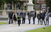 1st July 2019. Belfast Mayor John Finucane pictured as he lays a laurel wreath at the City Hall in remembrance of those killed at the Somme.. Mandatory Credit / Stephen Hamilton-Presseye. .