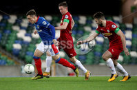 Press Eye - Belfast, Northern Ireland - 29th October 2019 - Photo by William Cherry/Presseye. Linfield\'s Joel Cooper with Cliftonville\'s Christopher Curran during Tuesday nights BetMcLean League Cup game at Windsor Park, Belfast.     Photo by William Cherry/Presseye