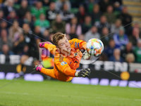 Press Eye - Belfast - Northern Ireland - 9th September 2019 . UEFA EURO Qualifier Group C at the National Stadium at Windsor Park, Belfast.  Northern Ireland Vs Germany. . Northern Ireland\'s goalkeeper Bailey Peacock-Farrell makes a save of a Germany free kick. .  . Photo by Jonathan Porter / Press Eye.