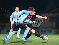 Picture credit © Matt Mackey - Presseye.com . Belfast - Northern Ireland - 12th February 2016.            . Danske Bank Premiership Ballymena United v Coleraine at the Showgrounds Ballymena.. Ballymena\'s Stephen BcBride in action with Coleraine\'s Ian Parkhill.