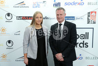 Press Eye - Belfast - Northern Ireland - 7th May 2018  - . NI Football Awards at the Crowne Plaza Hotel.. Lauren Perry and Michael O\'Neill pictured at the Awards.. Photo by Kelvin Boyes / Press Eye .