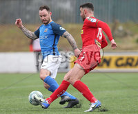 Danske Bank Premiership, Solitude, Belfast 14/4/2018 . Clliftonville vs Glenavon. Clliftonville\'s Joe. Gormley in action with Glenavon\'s Andrew. Doyle. Mandatory Credit ©INPHO/Matt Mackey
