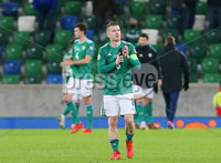 Press Eye - Belfast - Northern Ireland - 12th November 2020. European Championship 2020.  Playoff for Final Tournament - Northern Ireland Vs Slovakia at The National Stadium at Windsor Park, Belfast.. Northern Irelands Steven Davis pictured after the final whistle with Slovakia wining 1-2 in extra time and reach the finals. . Picture by Jonathan Porter/PressEye