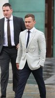 Press Eye - Belfast - Northern Ireland - 15th September 2020 . Carl Frampton pictured with John Finucane MP as he heads into a High Court showdown with Barry McGuigan in Belfast.. Mr Frampton, 32, is suing Mr McGuigan, his wife Sandra McGuigan and Cyclone Promotions (UK) Ltd, claiming a failure to pay purse money from his bouts.. Photo by Matt Mackey / Press Eye.