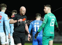 Danske Bank Premiership, Showgrounds, Ballymena.. 16/2/2021. Ballymena United  FC vs Coleraine FC . Ballymena United goal keeper Jordan Williamson.is shown a red card by referee Tony Clarke during Tuesday night\'s Danske Bank Premiership match at Ballymena Showgrounds.. Mandatory Credit  INPHO/Brian Little