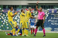 UEFA Europa League- Qualifying Third Round-2nd Leg, Windsor Park, Belfast  12/8/2019. Linfield FC vs FK FK Sutjeska. Referee Miroslav Zelinka shows a red card to FK Sutjeska Aleksandar Sofranac .. Mandatory Credit  INPHO/Brian Little