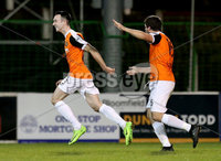 BetMcLean League Cup Round 3, The Oval, Belfast 10/10/2017. Glentoran vs Carrick Rangers. Carrick Rangers goal scorer Mark Edgar celebrates with Michael Smith. Mandatory Credit ©INPHO/Matt Mackey