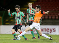 BetMcLean League Cup Round 3, The Oval, Belfast 10/10/2017. Glentoran vs Carrick Rangers. Glentoran\'s Curtis Allen with Carrick Rangers\' Mark Surgenor . Mandatory Credit ©INPHO/Matt Mackey