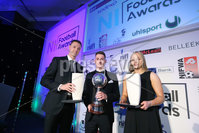 Press Eye - Belfast - Northern Ireland - 7th May 2018  - . NI Football Awards at the Crowne Plaza Hotel.. Jonny Evans, Gavin Whyte and Lauren Perry.. Photo by Kelvin Boyes / Press Eye .
