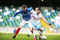Danske Bank Premiership, Windsor Park, Belfast  7/4/2018. Linfield FC vs Ballymena United. Linfield\'s  Niall Quinn  and   Jim Ervin  of Ballymena United.. Mandatory Credit @INPHO/Brian Little