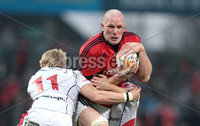 RaboDirect PRO 12, Thomond Park, Limerick 5/5/2012. Munster vs Ulster. Munster\'s Paul O\'Connell is tackled by Chrid Cochrane and Paul Marshall of Ulster. Mandatory Credit ©INPHO/Cathal Noonan