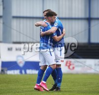 Danske Bank Premiership, Showgrounds, Coleraine , Co. Derry. Northern Ireland 1/5/2021. Coleraine V Cliftonville. Coleraines Ben Doherty celebrates his goal with club captain Stephen O\'Donnell.. Mandatory Credit INPHO/Presseye/Lorcan Doherty.