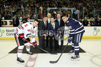 Press Eye - Belfast, Northern Ireland - 29th November 2019 - Photo by William Cherry/Presseye. Lord Mayor of Boston Marty Walsh accompanied with the Deputy Lord Mayor of Belfast Councillor Peter McReynolds perform the ceremonial faceoff with Northeastern captain Ryan Shea and New Hampshire captain Anthony Wyse during Friday afternoons Friendship Four game at the SSE Arena, Belfast. Photo by William Cherry/Presseye