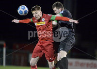9thFebruary 2021. Danske Bank Irish league,Solitude,Belfast. Cliftonville v Warrenpoint Town .. Cliftonvilles Ryan Curran  in action with Warrenpoints Daniel Byrne. Mandatory Credit   Inpho/Stephen Hamilton