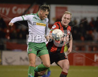 25/01/2020. Danske Bank Premiership, Seaview, Belfast Co. Antrim . Crusaders v Cliftonville . Crusaders  Jordan Owens in action with Cliftonvilles Conor McDermott. Mandatory Credit INPHO/Stephen Hamilton.