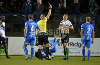 Bet Mclean league cup 3rd round . 8th October 2019. Coleraine  v Glentoran ay Ballycastle road, Coleraine.  Glentorans James McCarthy gets a red card . Mandatory Credit INPHO/Stephen Hamilton.