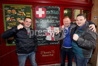 Press Eye - Belfast -  Northern Ireland - 11th November 2017 - Photo by William Cherry/Presseye. Northern Ireland fans Alan McCollum, Lee Dando and David McKinley in Basel ahead of Sunday nights World Cup Play Off against Switzerland at at St. Jakob-Park, Basel.