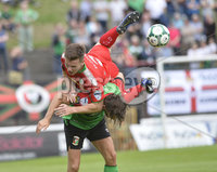 4th August 2018. Danske Bank Irish premier league match between Glentoran and Cliftonville at The Oval in Belfast.. Glentorans Curtis Allen  in action with Cliftonvilles Jamie McGovern.  Mandatory Credit: Stephen Hamilton /Inpho