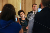 Press Eye - Belfast - Northern Ireland - 14th May 2018. The SDLP\'s (L-R) Claire Hanna and Mark Durkan make a statement to the media on the Brexit negotiations in the Great Hall, Parliament Buildings, Stormont. Picture by Jonathan Porter/PressEye