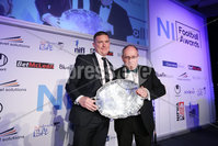 Press Eye - Belfast - Northern Ireland - 7th May 2018  - . NI Football Awards at the Crowne Plaza Hotel.. NON-SENIOR CLUB OF THE YEAR. Dundela secretary Jim Steed, left with Timothy Dubois. . Photo by Kelvin Boyes / Press Eye .