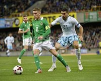 11th August 2018. International Friendly match between . Northern Ireland and Israel  at the national stadium in Belfast.. Northern Irelands Steven Davis  in action with Israels Eitan Tibi.  Mandatory Credit: Stephen Hamilton /Presseye