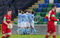 County Antrim Shield Final -  Windsor Park.  21.01.20. Cliftonville FC vs Ballymena United. Ballymenas celebrate after scoring to make it 0-1. . Mandatory Credit INPHO/Jonathan Porter