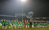 Press Eye - Belfast - Northern Ireland - 18th November 2019. Preparatory Friendly Tournament U19 2019 - Northern Ireland Vs Germany at Mourneview Park in Lurgan.. The teams line out. . . Picture by Jonathan Porter/PressEye