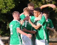 PressEye-Northern Ireland- 19th August  2019-Picture by Brian Little/PressEye. Northern Ireland U16   Brodie Spencer celebrates scoring the opening goal against   Estonia U16   during Monday evening\'s challenge match at Breda Park (Knockbreda FC).. Picture by Brian Little/PressEye .