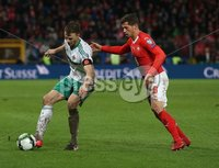 PressEye-Northern Ireland- 12th November  2017-Picture by Brian Little/ PressEye. Switzerland Remo Freuler    and Northern Ireland  Jonny Evans    during Sunday night\'s FIFA  World Cup play-off  second leg match at St Jacob Park, Basel.. Picture by Brian Little/PressEye