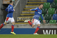 21/02/2020. Danske Bank Irish Premiership match between Linfield and Crusaders at The National Stadium.. Linfields Andy Waterworth celebrates scoring. Mandatory Credit  Inpho/Stephen Hamilton