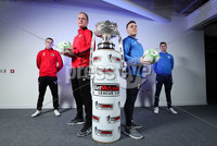 Press Eye - Belfast - Northern Ireland - 5th February 2020 - . NIFL  Bet McLean League Cup Final press night at the National Stadium.. Rory Hale, Jordan Owens from Crusaders FC with Aaron Traynor and Josh Carson from Coleraine FC . Photo by Kelvin Boyes / Press Eye.