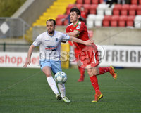 9th May 2018. Europa league play off semi final match between Cliftonville and Ballymena United at Solitude in Belfast.. Cliftonvilles Conor McDomald  in action with Ballymena\'s Tony Kane. Mandatory Credit ©Inpho/Stephen Hamilton