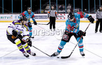Press Eye - Belfast -  Northern Ireland - 11th February 2018 - Photo by William Cherry/Presseye. Belfast Giants Jonathan Ferland with Manchester Storm\'s Paul Swindlehurst during Sunday afternoons Elite Ice Hockey League game at the SSE Arena, Belfast.