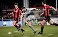 3/12/2019. Bet McLean league cup semi final between Crusaders and Institute at Seaview.. Crusaders Jordan Forsytthe  in action with Institutes Niall Grace. Mandatory Credit Inpho/Stephen Hamilton