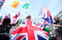 Press Eye - Belfast - Northern Ireland - 23rd June 2018. UK freedom march and protest along with United Against Racism counter-protest at Belfast City Hall. . Picture by Jonathan Porter/PressEye