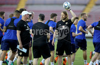 Press Eye - Belfast -  Northern Ireland - 28th May 2018 - Photo by William Cherry/Presseye. Northern Ireland manager Michael O\'Neill and Austin MacPhee during Monday evenings training session at the Estadio Rommel Fernandez, Panama City.