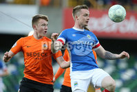 PressEye-Northern Ireland- 18th April 2017-Picture by Brian Little/PressEye. Linfield  Aaron Burns    and Glenavon Caolan Marron  during Easter Tuesday\'s Danske Bank Section A match at Windsor Park.. Picture by Brian Little/PressEye