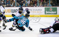 Press Eye - Belfast -  Northern Ireland -16th November 2019 - Photo by Darren Kidd/Presseye . Belfast Giants\' Patryk Wronka with Dundee Stars\' Alex Leclerc during Saturday nights Elite Ice Hockey League game at the SSE Arena, Belfast.    Photo by Darren Kidd/Presseye