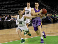 Press Eye - Belfast -  Northern Ireland - 30th November 2018 - Photo by William Cherry/Presseye. Albany\'s Cameron Healy with Dartmouth\'s Brendan Barry during Friday afternoons Samson Bracket Consolation game in the Basketball Hall of Fame Belfast Classic at the SSE Arena, Belfast.