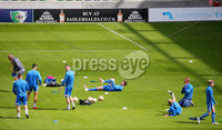 Press Eye - Belfast - Northern Ireland - 27th July 2020 - . Ballymena United FC v Coleraine FC Sadler\'s Peaky Blinder Irish Cup Semi Final at the National Football Stadium at Windsor Park.. Coleraine warm up ahead of the match. . Photo by Jonathan Porter Press Eye.