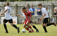 26th  July 2018. SuperCupNI 2018 Minor  section semi final between Greenisland and Portadown at Seahaven Portstewart.. Greenisland\'s Reece Black in action with Portadowns Ethan De Sousa.  Mandatory Credit: Stephen Hamilton /Presseye
