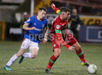 Danske Bank Premiership at Solitude, Belfast.  13.01.2020. Cliftonville FC vs Linfield FC. Cliftonvilles Joe Gormley with Linfields Stephen Fallon. Mandatory Credit INPHO/Jonathan Porter
