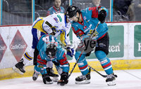 Press Eye - Belfast -  Northern Ireland - 09th February 2018 - Photo by William Cherry/Presseye. Belfast Giants Matt Towe and Jonathan Ferland during Friday nights Elite Ice Hockey League game at the SSE Arena, Belfast.