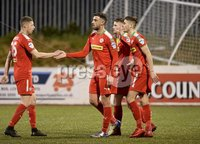 9th May 2018. Europa league play off semi final match between Cliftonville and Ballymena United at Solitude in Belfast.. Cliftonvilles Joe Gormley celebrates after firing his side into a 3-0 lead. Mandatory Credit ©Inpho/Stephen Hamilton