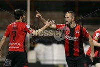 BetMcLean League Cup Third Round, Seaview, Belfast 9/10/2018. Crusaders FC v Ballinamallard United FC. Crusaders  Kyle Owens celebrates a goal against  Ballinamallard United. Mandatory Credit @INPHO/Brian Little .