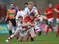 RaboDirect PRO 12, Thomond Park, Limerick 5/5/2012. Munster vs Ulster. Munster\'s Ivan Dineen tackled by Paul Marshall and Nevin Spence of Ulster. Mandatory Credit ©INPHO/Billy Stickland